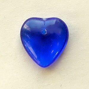 skleněné modré korálky srdíčka