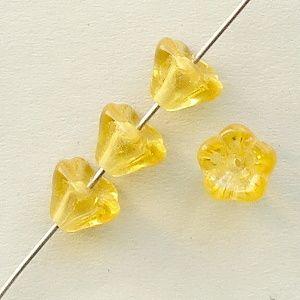 žluté korálky skleněné kytičky