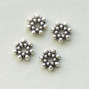 korálky kytičky starostříbrné kovové