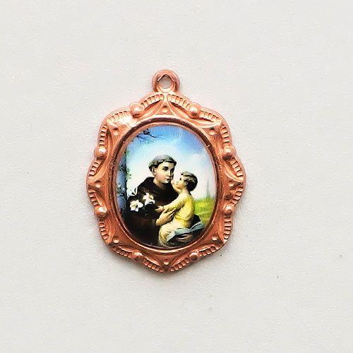 staroměděný medailonek sv. Antonín