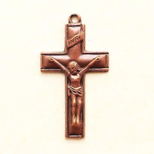 staroměděný přívěsek křížek k růženci