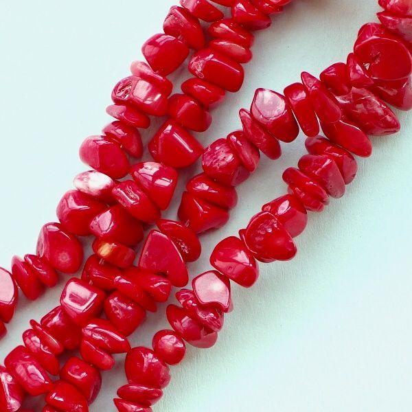 červený korál na navlékání