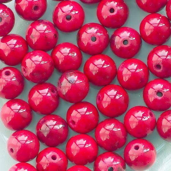 červený mramor korálky