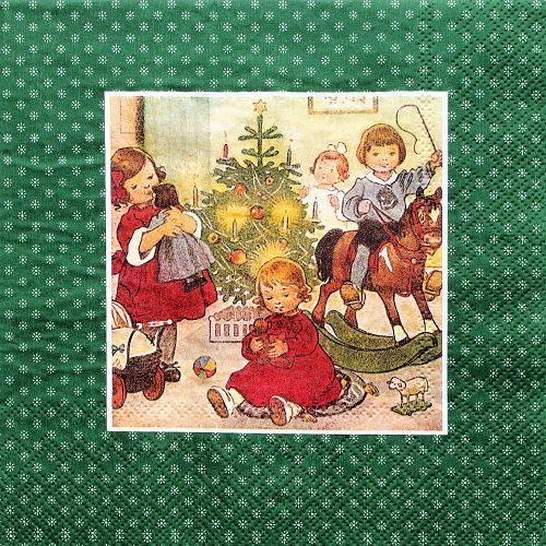 decoupage ubrousky vintage Vánoce