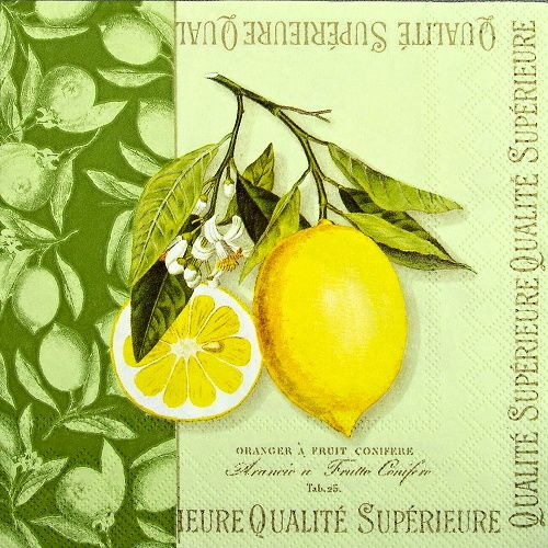 ubrousky na decoupage citrony a písmo
