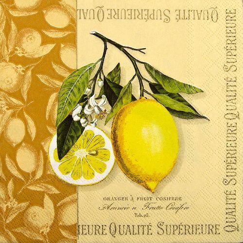 ubrousky na decoupage citrony na větvičce