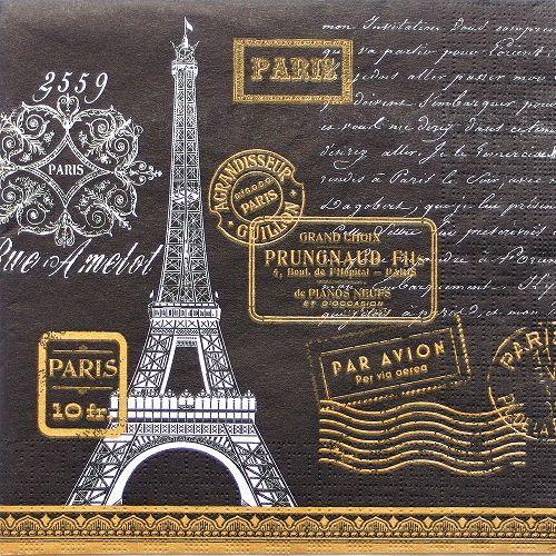 decoupage ubrousek Paris čern