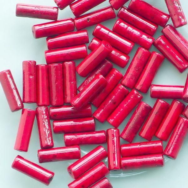korálky červený mramor